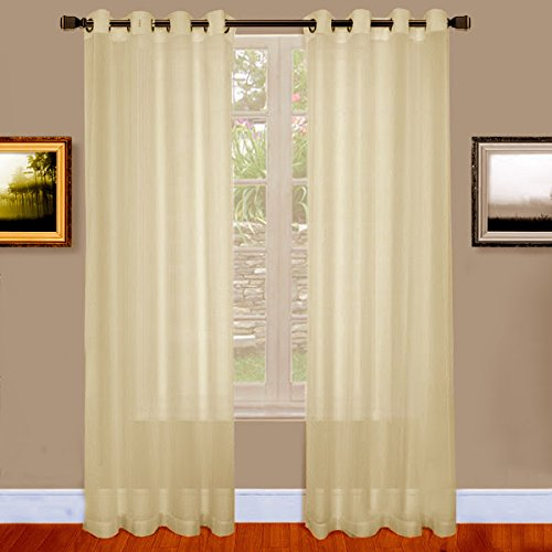 Ivory Beige Sheer Window Curtains with Grommet Top for Bedroom, Kitchen, Kids Room or Living Room