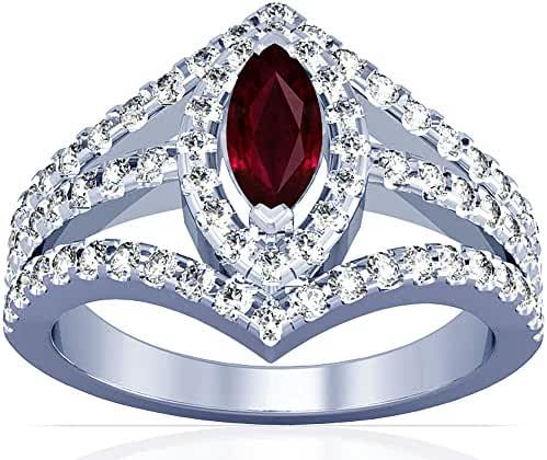 Platinum Marquise Cut Ruby Ring With Sidestones