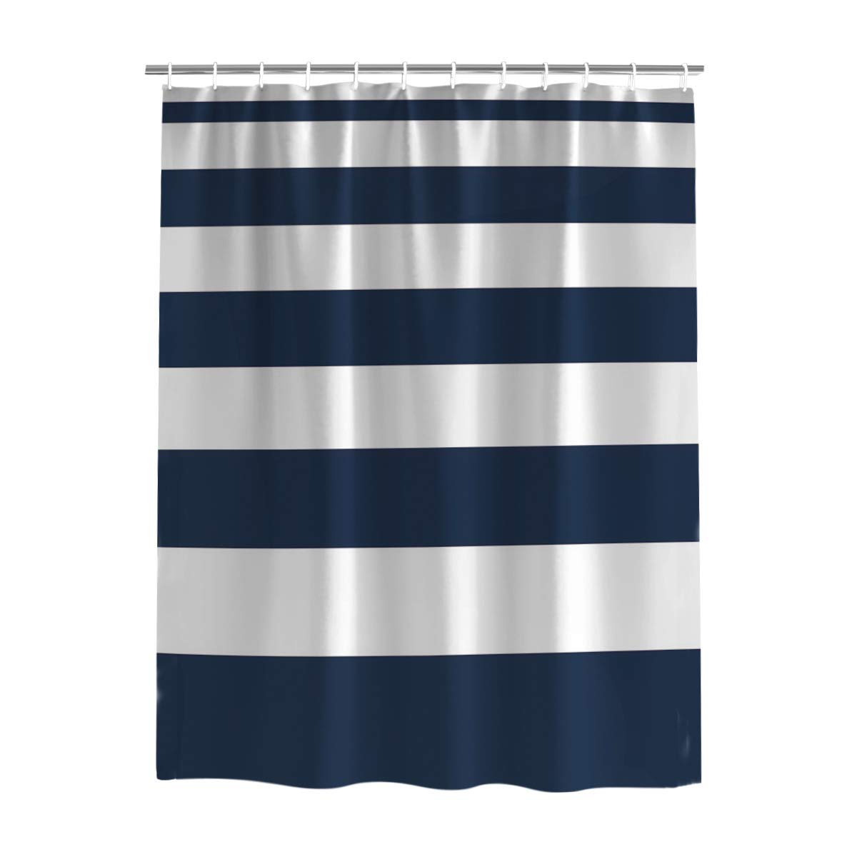 Amazon Plelat Bathroom Shower Curtain With Hooks For Christmas Bath Room DecorSimple Stripe Blue And WhiteFabric Washable Extra Long Curtains72 X 78