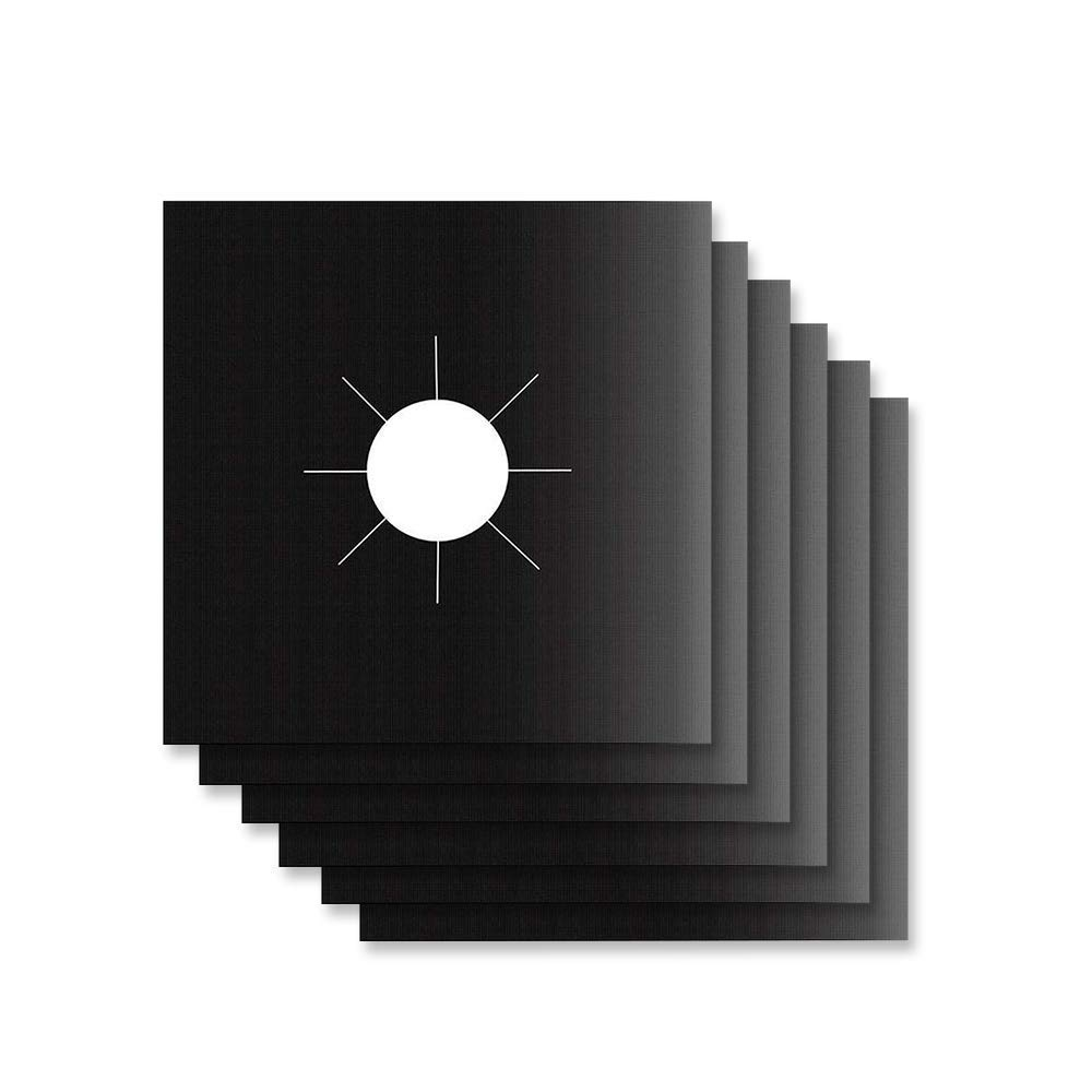"""8 Pack Gas Range Stove Burner Cover. Non-Stick Teflon Coated Black Square 10.6"""" Liners 0.02mm Thick. Non-Stick, Easy to Clean"""