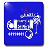 3dRose Alexis Design - Best Professional Ever - Beautiful white text The Best Computer Expert, modern shapes on blue - Light Switch Covers - double toggle switch (lsp_286487_2)