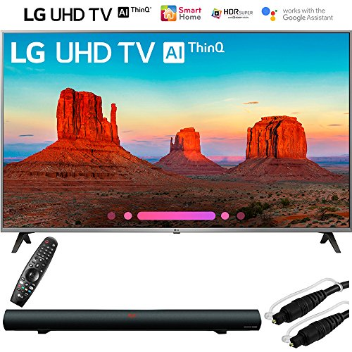 LG 55UK7700PUD 55″ Class 4K HDR Smart LED AI UHD TV w/ThinQ (2018 Model) with Sharper Image 37″ Sound Bar Bluetooth Speaker With Optical Input and 6ft Optical Toslink 5.0mm OD Audio Cable