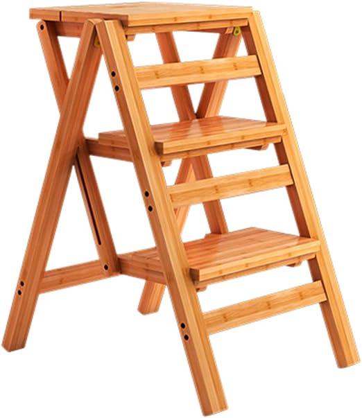 Bambú Silla Plegable de la Escalera Casa Multifuncional Taburete Escalera Ascendente Silla de Escalera Creativa 55 × 42 × 68cm Escaleras de Mano La Seguridad (Color: Color Madera): Amazon.es: Hogar