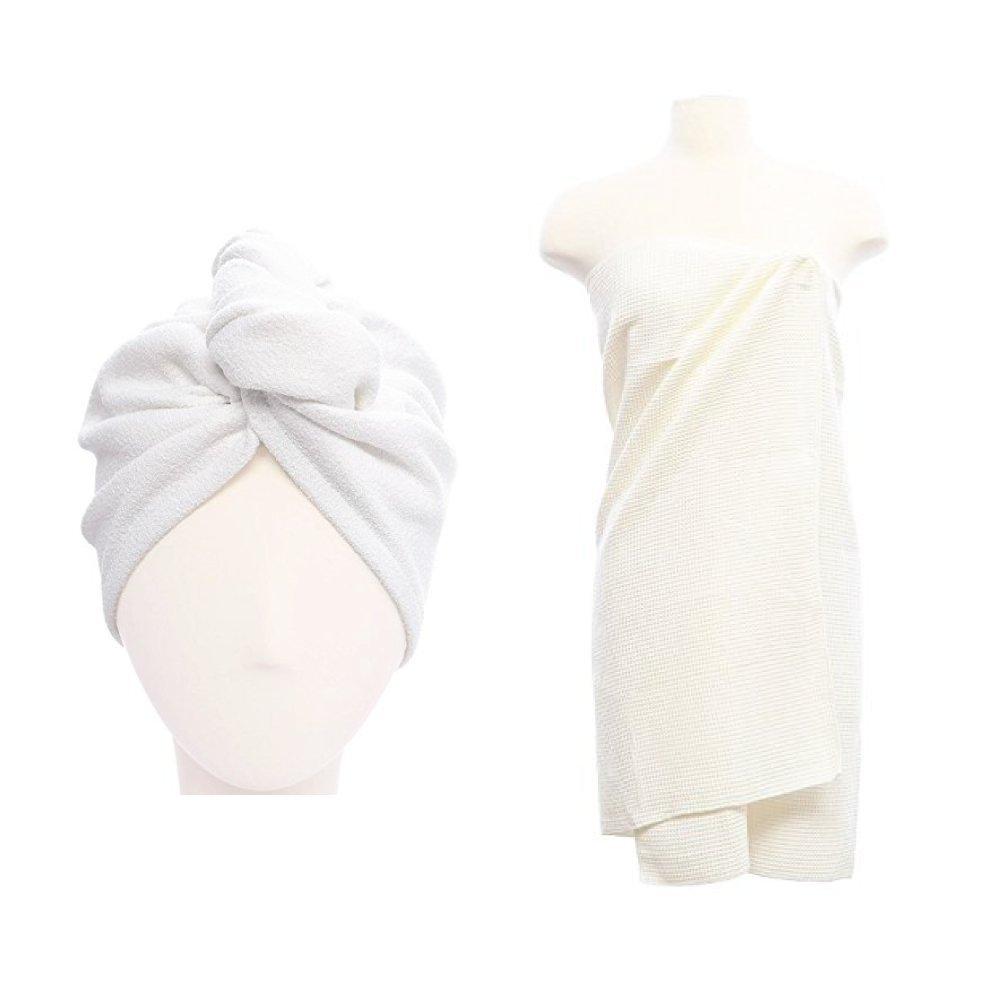 Aquis Hair Turban and Waffle Body Towel, White