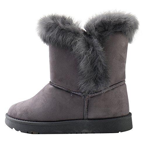 Alexis 36 EU Leroy 5 Black Snow US Boots Women's Calf Suede 5 Flat Mid Gray 5 zzrwvqa