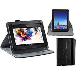 "Navitech Black Faux Leather Hard Case Cover With 360 Rotational Stand For The All-New Fire 7 Tablet with Alexa, 7"" Display, 8 GB, Black, Punch Black, Marine Black, Canary Yellow"