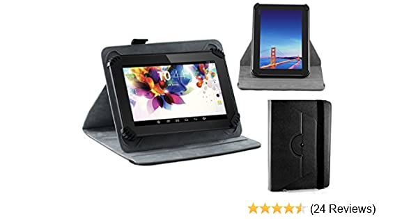 Navitech Black Faux Leather Hard Case Cover With 360 Rotational Stand For Tab Seven & @Tab Seven Dual Core