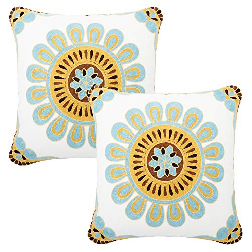 Lewondr Embroidery Throw Pillow Case, 2 Pack Square Bohemia Cotton Throw Pillow Cover Retro Indian Style Floral Leaves Decorative Sofa Cushionfor Couch Car Bed Room Home 18 x 18 Inch