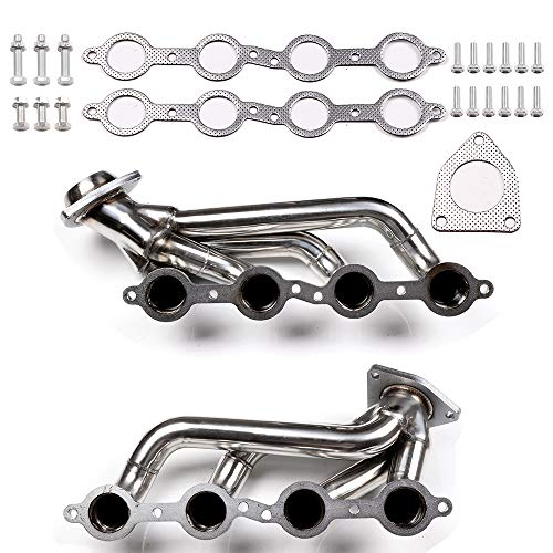 SCITOO Replacement Exhaust Manifold Gaskets Stainless Exhaust Manifold Pipe Set Fit for 02-16 Chevy GMC 5.2L-6.2L V8 ()
