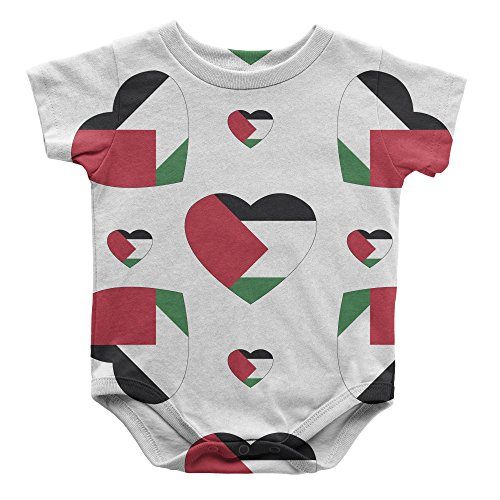 Palestinian Country Flag Hearts Infant One Piece Snapsuit Bodysuit 6 Months