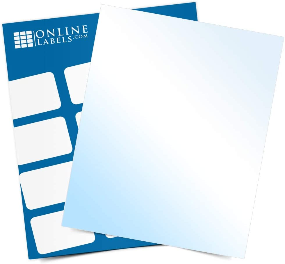 White Gloss Sticker Paper, 100 Sheets, 8.5 x 11 Full Sheet Label, Inkjet Printers, Online Labels