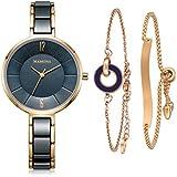 MAMONA Women's Watch & Bracelet Gift Set Ladies Stainless Steel/Ceramic Watch L3887GT (Blue)