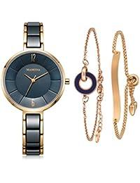 Women's Watch & Bracelet Gift Set Ladies Stainless Steel/Ceramic Watch Blue L3887BLGT