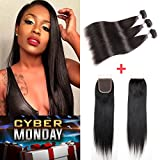 Brazilian Straight Hair 3 Bundles 16 18 20+14'' Closure Free Part, Garde 7A AMZTMY Human Hair, 100% Unprocessed Virgin Hair Extensions, Remy Hair Weft Weave With Lace Closure, Natural Color
