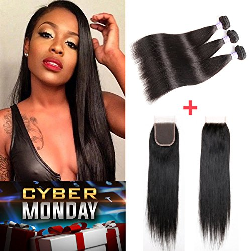 Brazilian Straight Hair 3 Bundles 16 18 20+14'' Closure Free Part, Garde 7A AMZTMY Human Hair, 100% Unprocessed Virgin Hair Extensions, Remy Hair Weft Weave With Lace Closure, Natural Color by AMZTMY