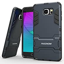 Samsung Galaxy Note 5 Case, Pasonomi® [Heavy Duty] [Shock-Absorption] [Kickstand Feature] Hybrid Dual Layer Armor Defender Full Body Protective Case Cover for Samsung Galaxy Note 5 (Dark Blue)