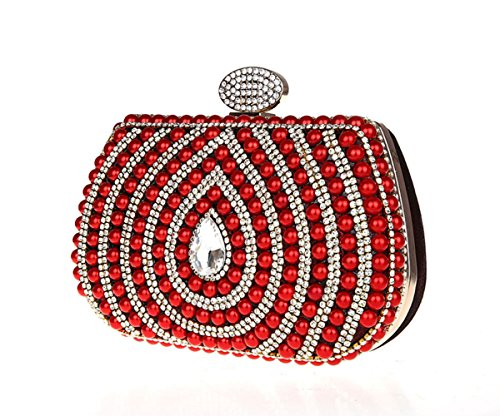 sac sac imité à perle diamant Rouge soirée imité de main Luxueux en OwUESXqq