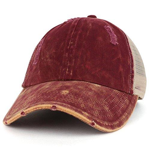 Ladies Low Profile Cap - Trendy Apparel Shop Ladies Ponytails Unstructured Distressed Mesh Back Trucker Cap - Burgundy