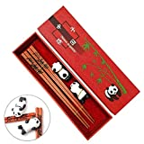 Chopsticks with Gift Wrapping Package, MHKBD Panda Gift Chinese Wooden Chopsticks with Cute Panda Design Reusable Chopsticks with 2 Holders and Case Gift Set for Wedding Birthday Panda lover (2 Pair)