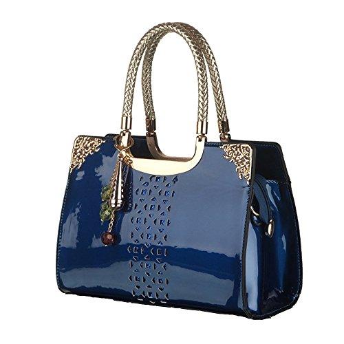 Patent PU Leather Handbag Hollow-out Handbags Single Shoulder Bag Tote Purse (Blue)