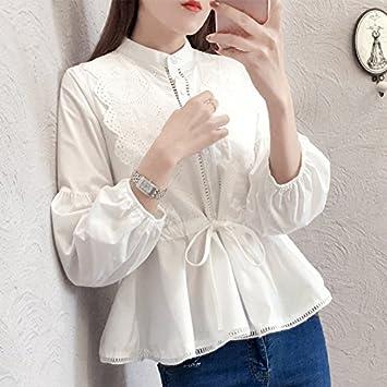 XXIN /Mujer Camiseta Long-Sleeved Encaje Blanco Cosido/Camisas/Blusas/M