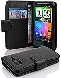 Cadorabo - Etui Housse pour HTC DESIRE HD - Coque Case Cover Bumper Portefeuille (avec fentes pour cartes) en NOIR DE JAIS