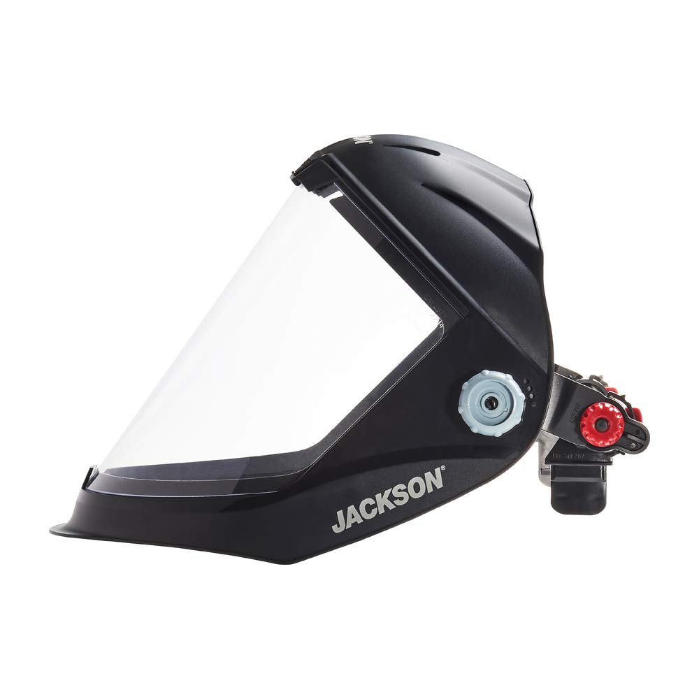 Jackson Safety Lightweight MAXVIEW Premium Face Shield with Ratcheting Headgear Uncoated Clear Tint 14200 Black