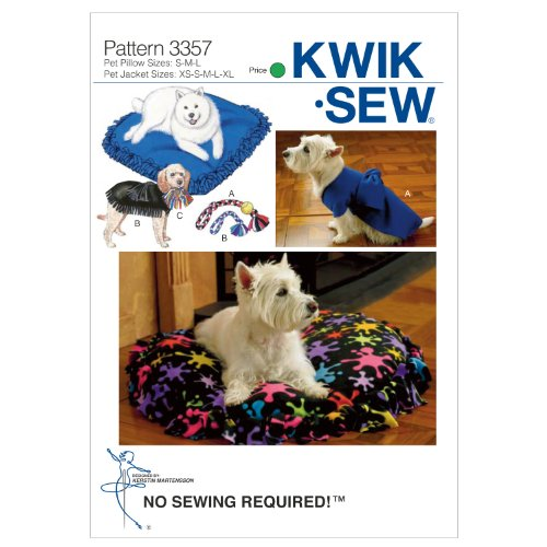 KWIK-SEW PATTERNS K3357 Crafts Pet Pillows, Jackets and Toys, Size XS-S-M-L-XL
