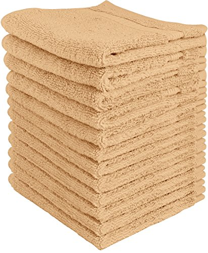 Beige Face (Utopia Towels Luxury Cotton Washcloth Towel Set (12 Pack, Champagne, 12x12 Inches) Multi-purpose Extra Soft Fingertip towels, Highly Absorbent Face Cloths, Machine Washable Sport, and Workout Towels)