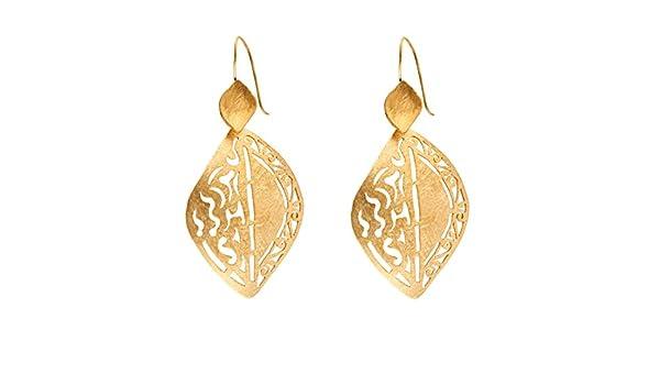 81stgeneration Women's Brass Gold Tone Ethnic Satin Finish Oval Dangle Earrings