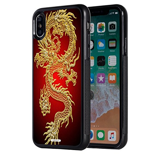 iPhone Xs Max Case,AIRWEE Slim Anti-Scratch Shockproof Silicone TPU Back Protective Cover Case for Apple iPhone Xs Max 6.5 inch 2018,Chinese Gold Dragon -
