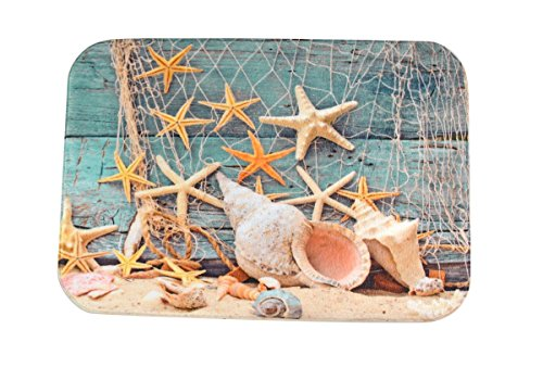 Mohawk Velvet Rug - DENGYUE Starfish Seashells Soft Fiber Runner Rug Pads, Sandy Beach Pattern Indoor Outdoor Entrance Doormat Rubber Backing 40 X 60CM Inches Bedroom Floor Mat