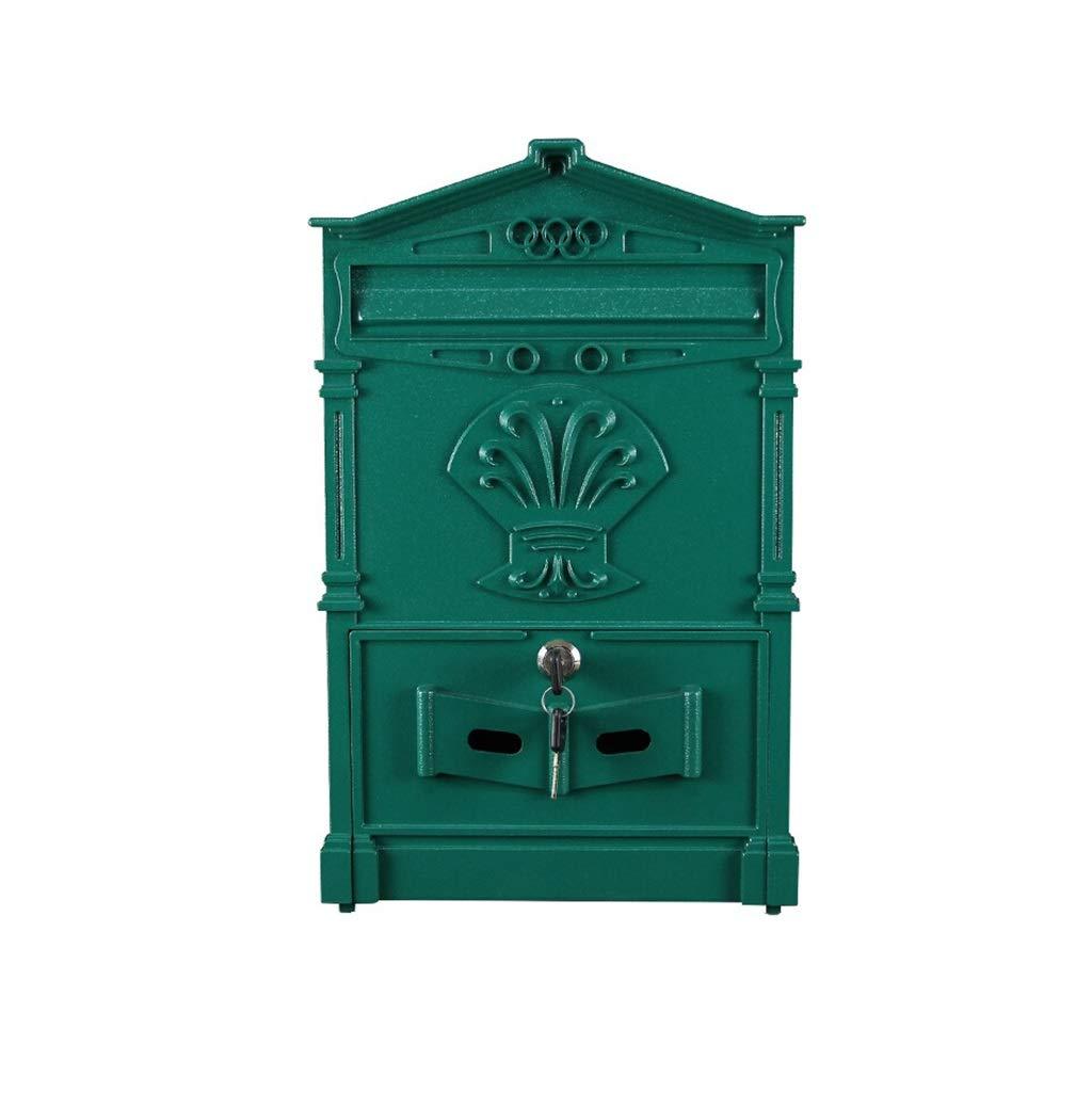 YANFEI Mailbox メールボックス、レトロ開催無料防水壁掛け装飾41 * 25 * 7.5センチ、2色 (Color : Blue)  Blue B07SV12TXM