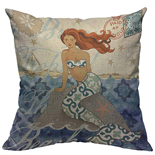 "oFloral Mermaid Throw Pillow Case Sea Theme Pillow Cover Square Cotton Linen Cushion Cover for Home Sofa Bedroom Decorative 18""X18"" Blue Yellow Brown"