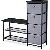 SONGMICS Shoe Bench Rack, 3 in 1 Home Storage Shelf Organizer with 4 drawers and Metal Mesh Shelves for Hallway Bedroom Linving Room Space Saver, Black ULMR34B