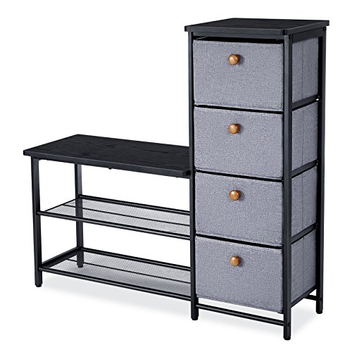 SONGMICS 3 in 1 Shoe Rack Bench, with 4 drawers and Metal Mesh Shelves for Both Seating and Storage, Cabinet Organizer Stand at Hallway Childrens Room Bedroom plus Space Saver, Black ULMR34B