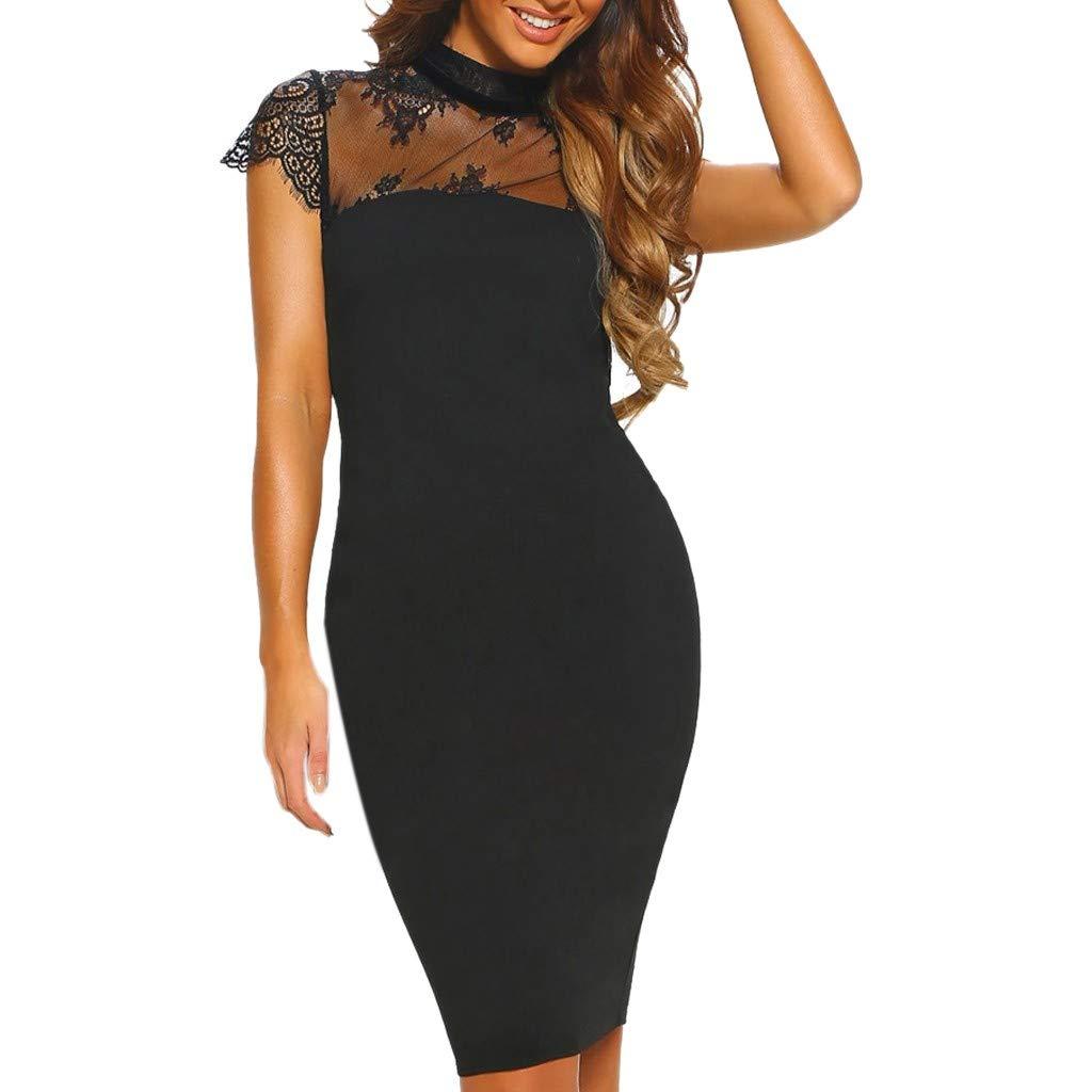 Womens Fashion Short Sleeve Lace Net Yarn Hollow Evening Party Midi Dress Black