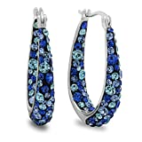 Crystalogy Silver Plated Brass Inside Out Multi Blue Crystal Hoop Earrings