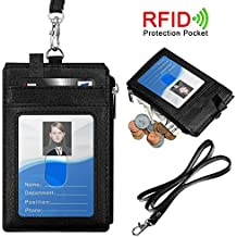 """Badge Holder with Zipper, ELV PU Leather ID Badge Card Holder Wallet with 5 Card Slots, 1 Side RFID Blocking Zipper Pocket and 20"""" Neck Lanyard / Strap for Offices ID, School ID, Driver Licence"""