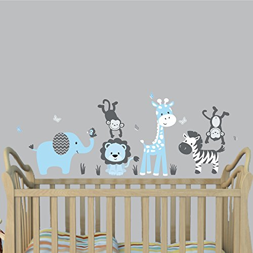 - Mini Baby Blue, Jungle Animal Wall Decals, Jungle Stickers for Boys, Monkey Stickers