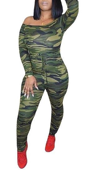 f21fb43676be WNSY Women Bodycon Off Shoulder Camo Print Drawstring Long Sleeve Jumpsuit  Romper camo US XS