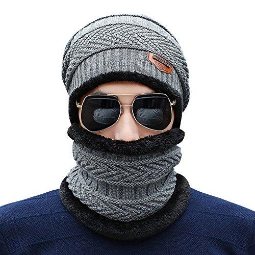 Hat Cálido de Gris de Slouchy punto Hombres Sombrero con Felpa Navy esquí Invierno Gorra Cálido Cozy punto de 4qnC1YwgPx