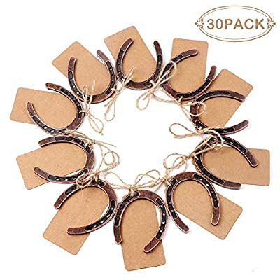 PartyTalk 30pcs Good Lucky Horseshoe Wedding Favors for Guests, Vintage Craft Horseshoe Favors with Kraft Gift Tags for Rustic Wedding Birthday Party Decorations: Arts, Crafts & Sewing