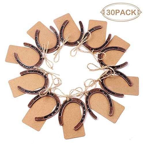 PartyTalk 30pcs Good Lucky Horseshoe Wedding Favors for Guests, Vintage Craft Horseshoe Favors with Kraft Gift Tags for Rustic Wedding Birthday Party -
