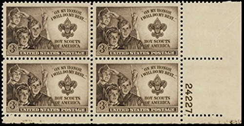 1950 Boy Scouts Plate Number Block of Four 3 Cent Postage Stamps Scott 995 By USPS