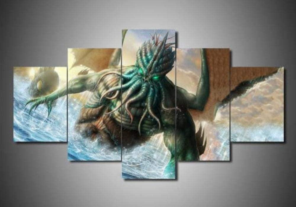 YUJEJ801 Multi Panel Wall Art Print on Canvas for Office Home Living Room Walls Decor Stretched and Framed 5 Pieces Cthulhu Mythos Abstract Contemporary Wall Artwork