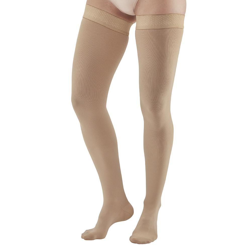 Ames Walker AW Style 292 Luxury Opaque 20-30 mmHg Firm Compression - Closed Toe Thigh High Compression Stockings w Dot Sil Band Beige Small - Aids Blood Circulation - Unisex by Ames Walker