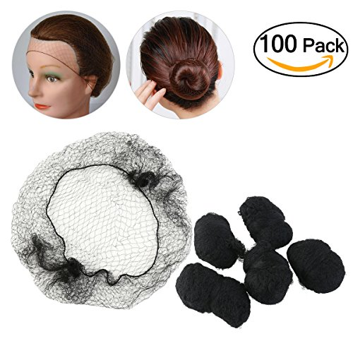 Tinksky Hair Nets Invisible Elastic Edge Mesh 100-Pack (Black)