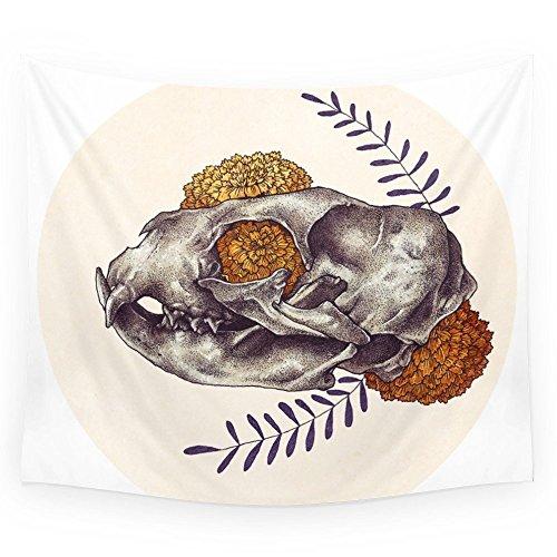"Society6 Inktober Cat Skull Wall Tapestry Large: 88"" x 104"""