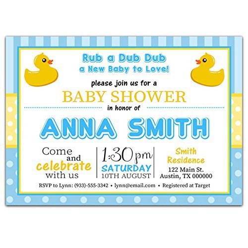 Blue and Yellow Rubber Ducky Baby Shower Party Invitations ()